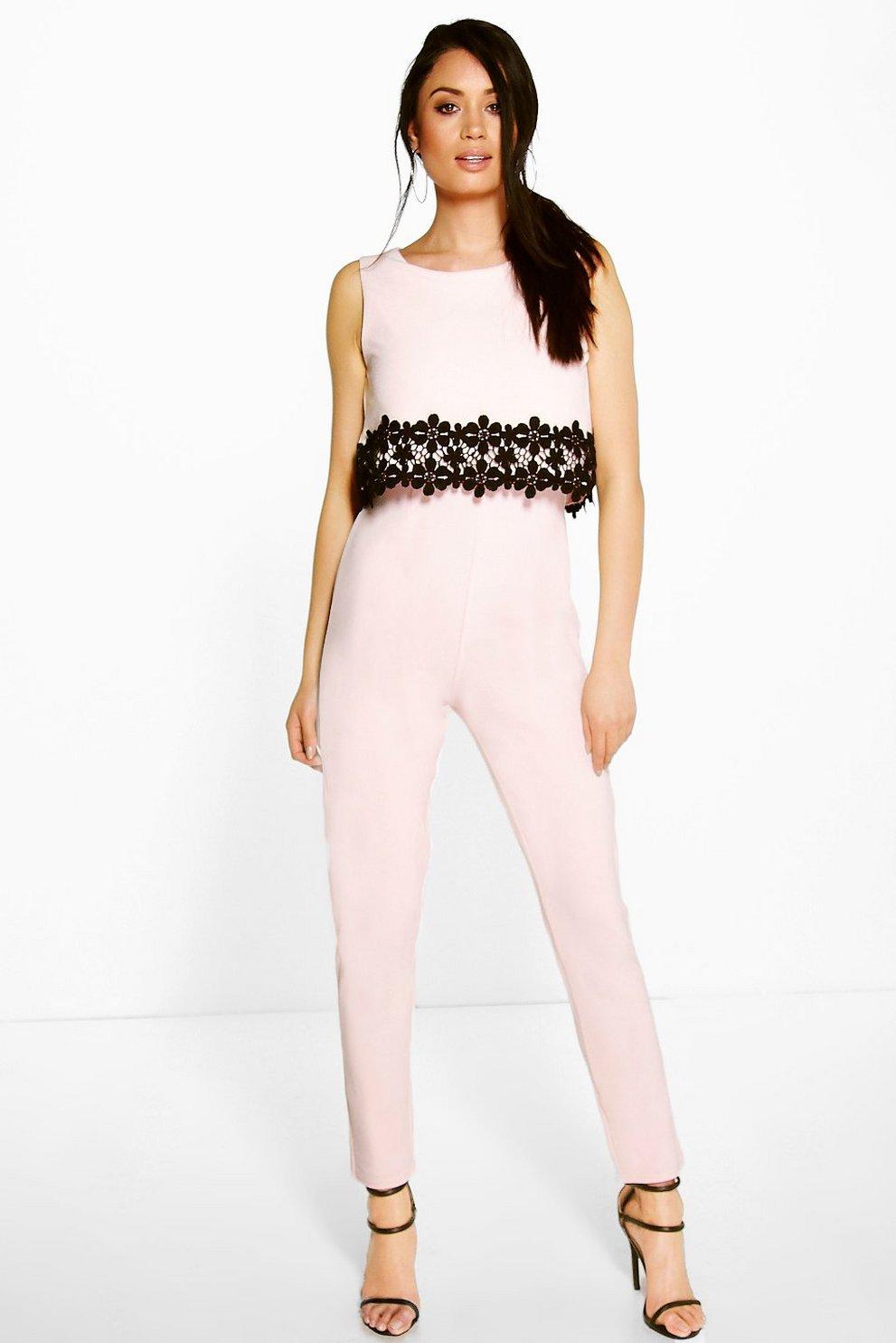 164cc7229c74 Lois Crochet Floral Trim Double Layer Jumpsuit