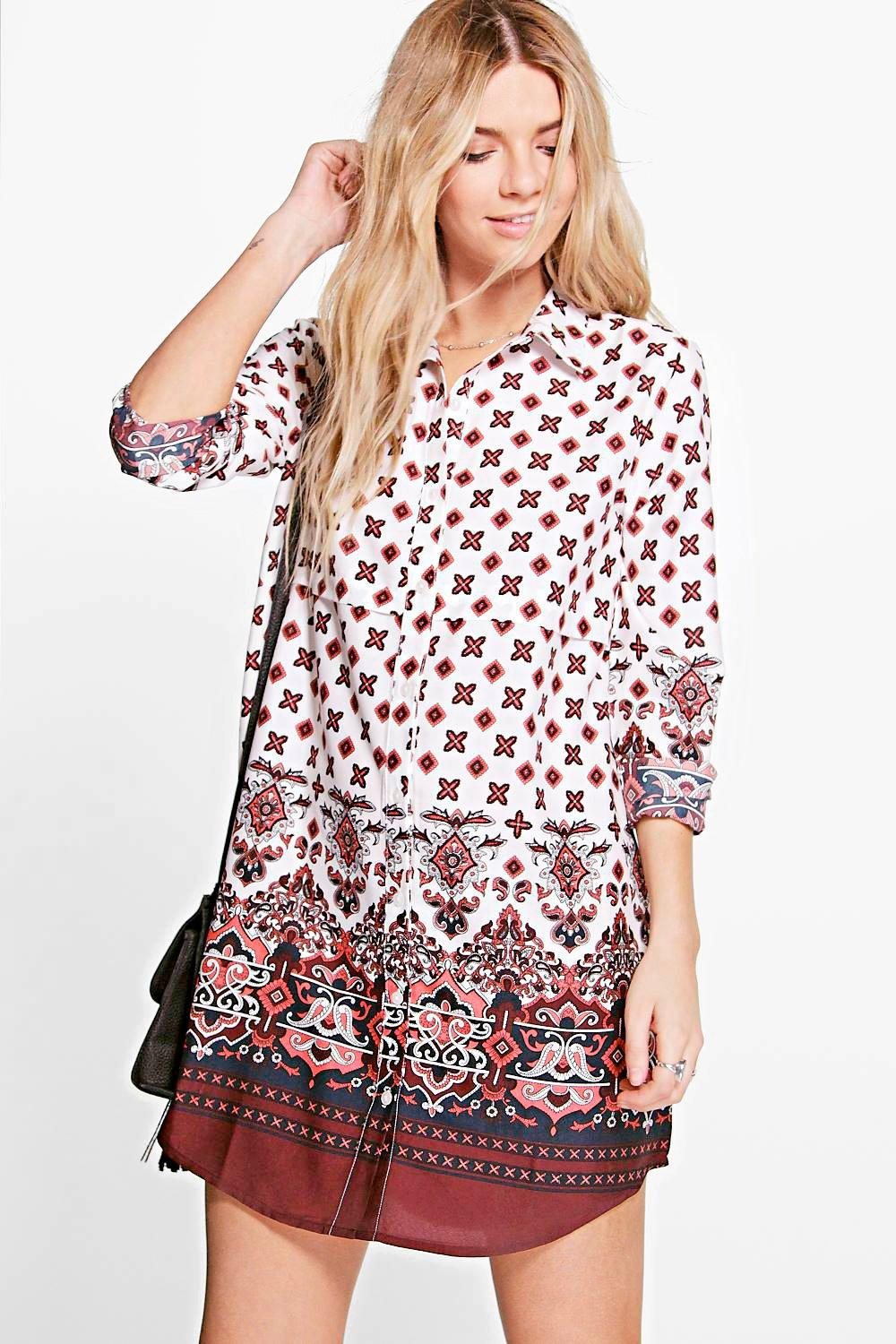 a6d0a35cadc6 Womens Multi Blanca Border Print Shirt Dress. Hover to zoom