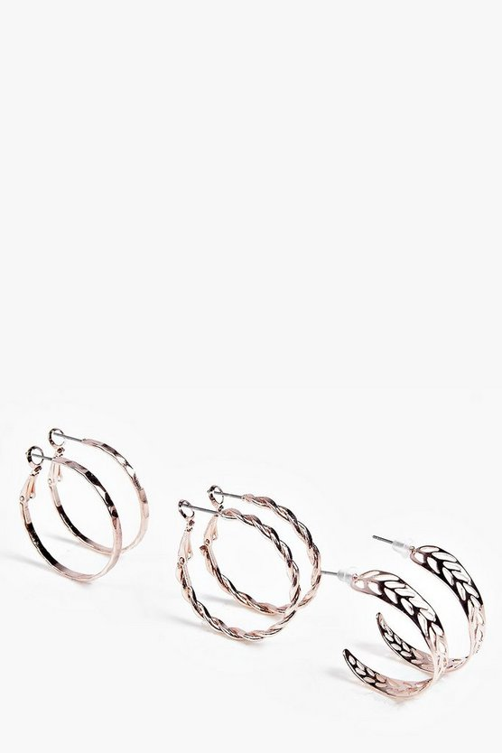 Rose Gold Ornate Hoop Earring 3 Pack