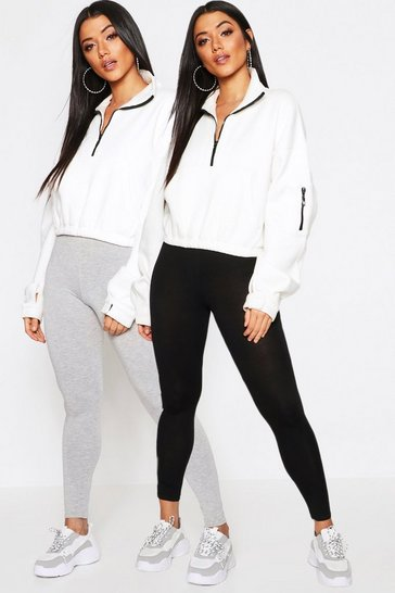 Womens Grey 2 Pack Basic Jersey Leggings