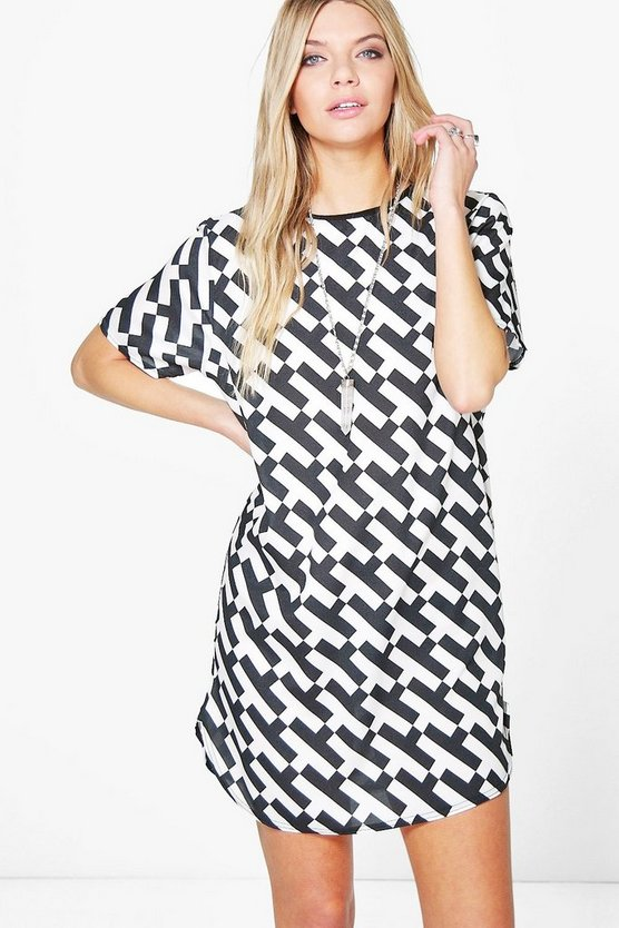 Tabby Mono Print Shift Dress