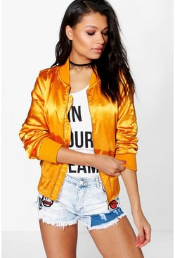 Womens Gold Ellie Metallic MA1 Bomber