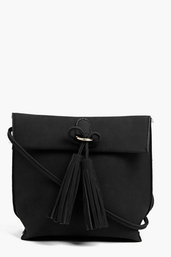 Suedette Tassel Detail Cross Body Bag