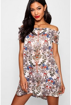 Womens Multi Floral Print Off The Shoulder Dress