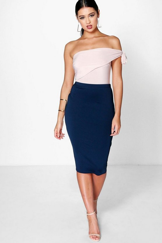 Navy Basic Scuba Midi Skirt
