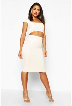 Nude Basic Scuba Midi Skirt