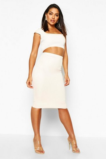 Womens Nude Basic Scuba Midi Skirt