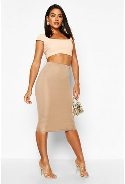 Womens Sand Basic Scuba Midi Skirt