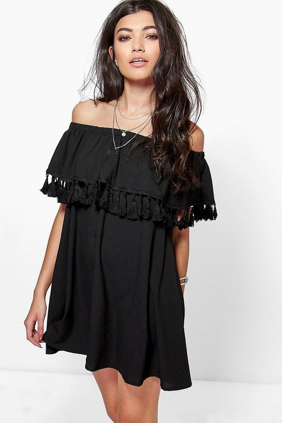 Tassel Trim Off The Shoulder Shift Dress