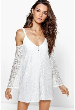Womens Ivory Yumiko All Over Lace Cold Shoulder Swing Dress