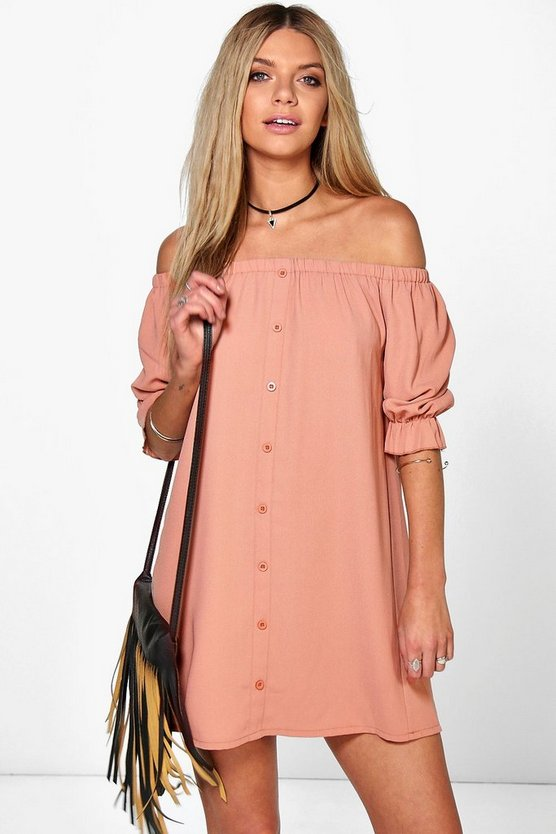 Off The Shoulder Button Shift Dress