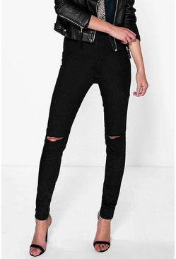 Black High Waisted Knee Rip Jeans