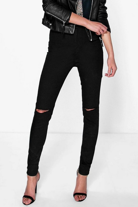 Womens Black High Waisted Knee Rip Jeans