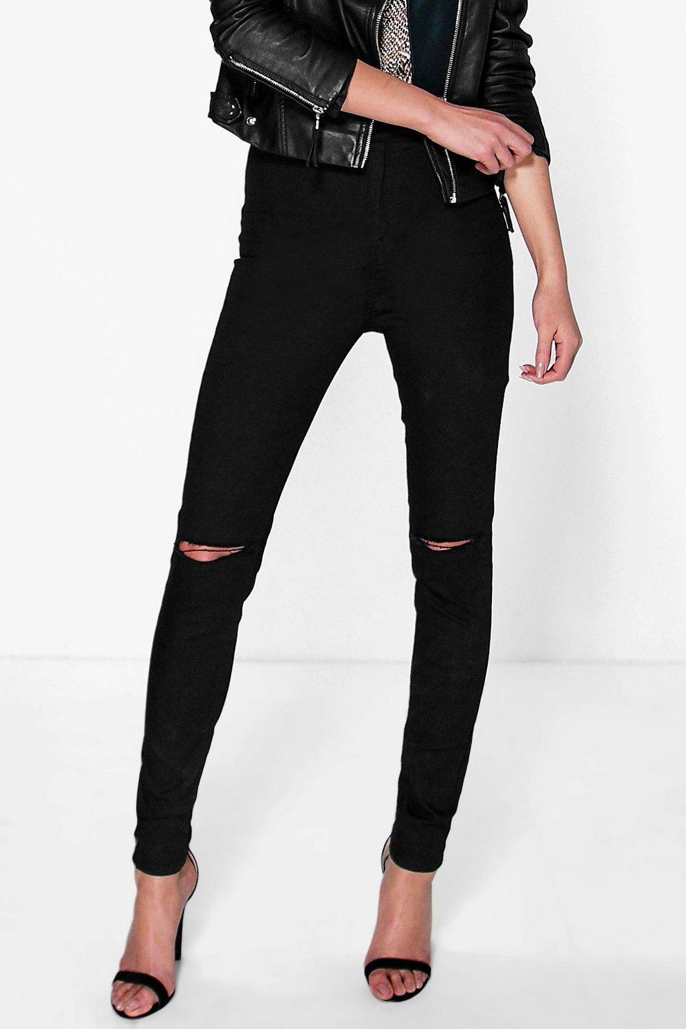 Jeans a vita alta con strappi al ginocchio  6aefa4b6ab8