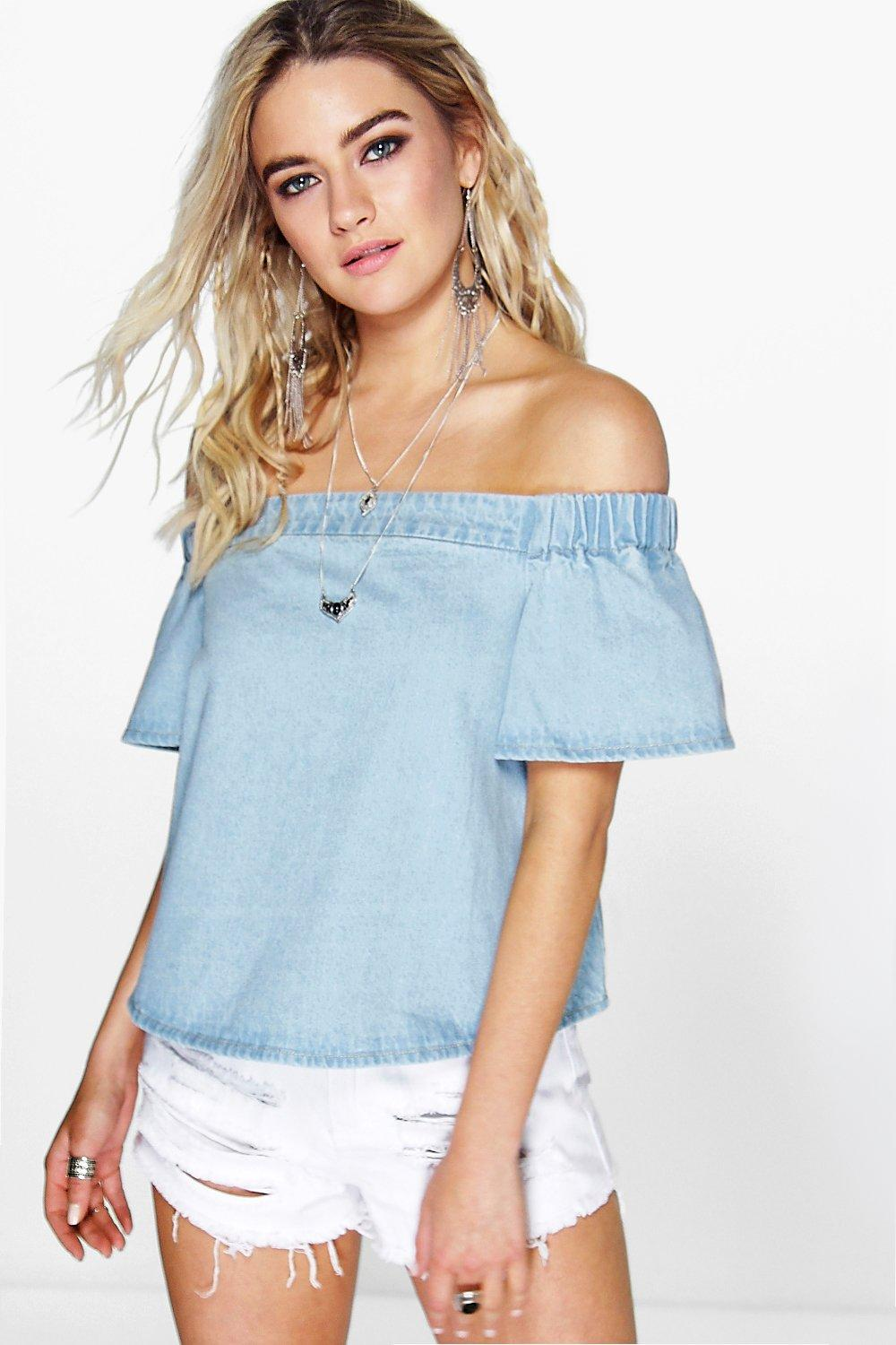 eb63518d5a38 Womens Blue Off The Shoulder Denim Top. Hover to zoom