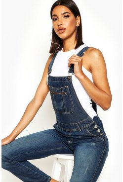 Womens Mid blue Denim Overalls
