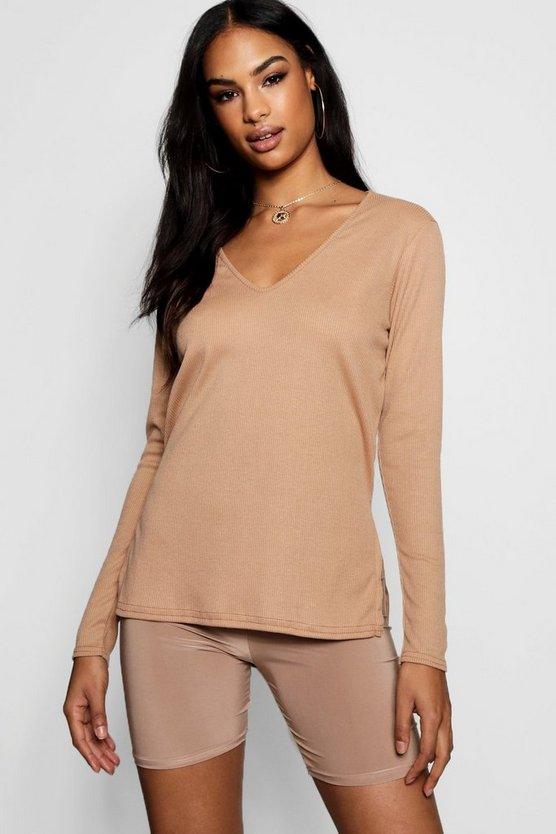 V Neck Rib Knit Jumper