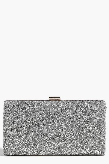 Womens Silver Melissa Embellished Box Clutch Bag