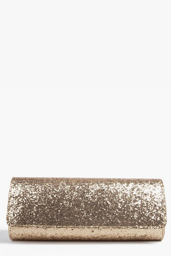 Structured Glitter Clutch Bag