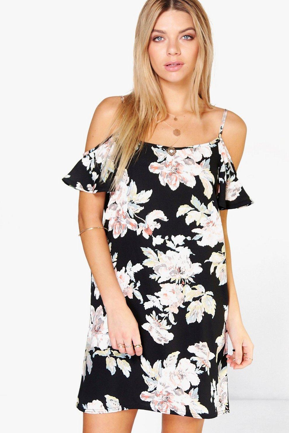 d96aaa71f555 Pam Ausgestelltes Kleid mit freier Schulter und Blumenmuster | Boohoo