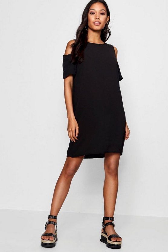 Cold Shoulder Textured Shift Dress