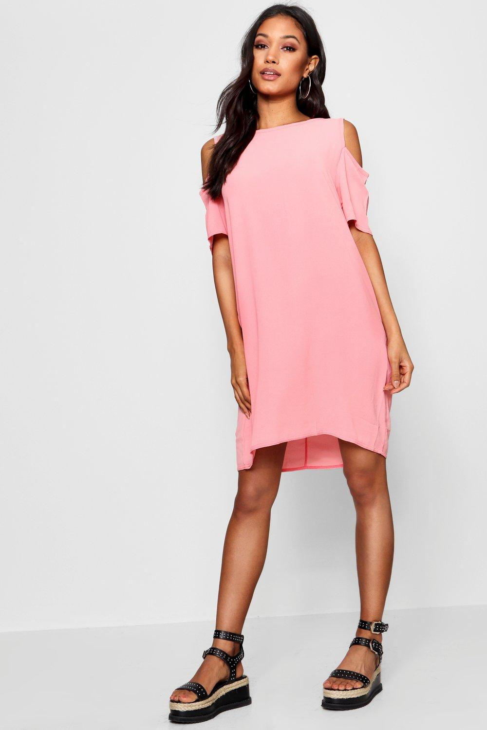 NEW-Boohoo-Womens-Cold-Shoulder-Textured-Shift-Dress-in-Polyester