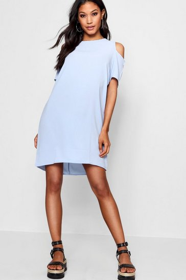 Womens Sky Cold Shoulder Textured Shift Dress