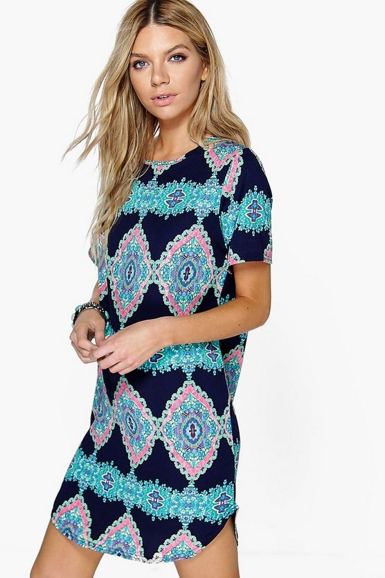 Womens Navy Emma Sleeveless Printed Shift Dress