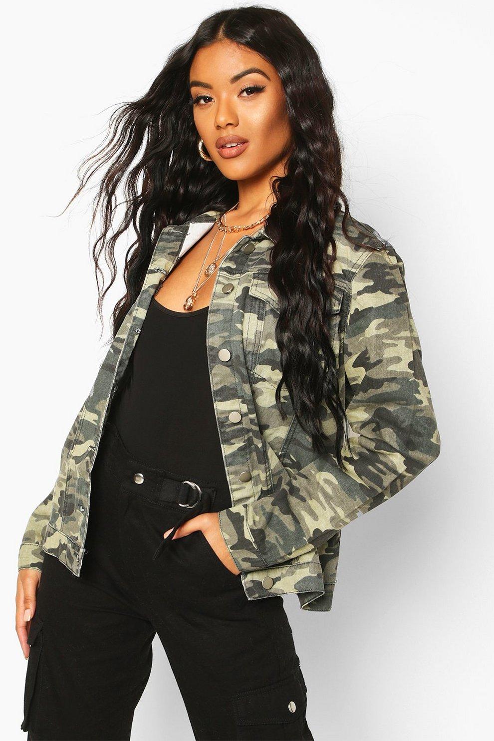 Camouflage jeans jacke damen oversize