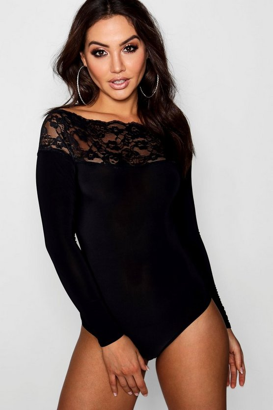 Slinky  Lace Trim Long Sleeve Bodysuit