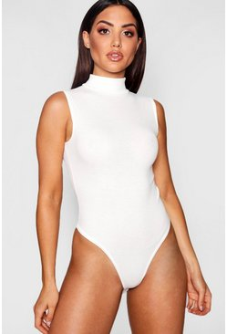 Womens Cream Ribbed Sleeveless Basic Bodysuit