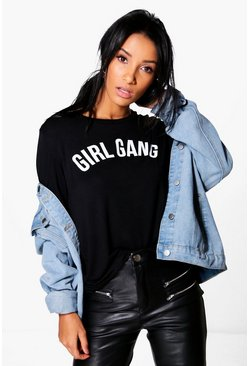 Womens Black Girl Gang Slogan Oversized T-Shirt