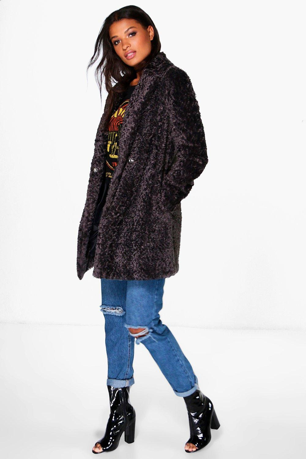 2f74fbb7b85 Womens Black Boutique Emilia Textured Faux Fur Coat. Hover to zoom