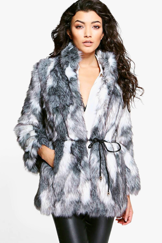 sale uk convenience goods enjoy big discount Boutique Emma Patchwork Faux Fur Coat With PU Belt | Boohoo