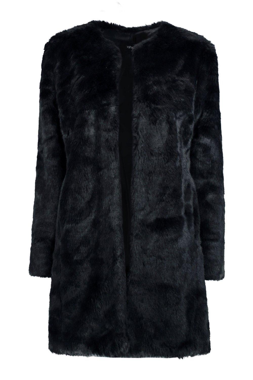negro sintética ella de piel abrigo wqp6IEF