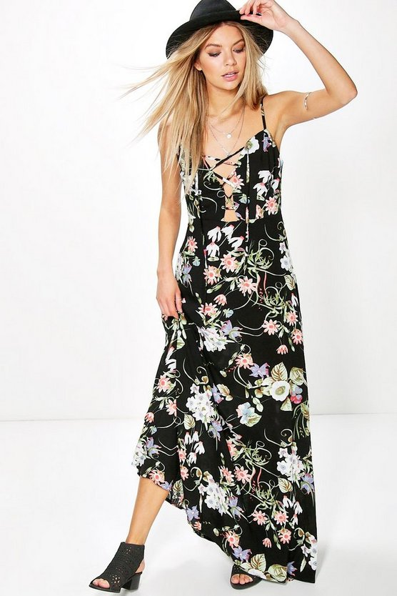 Aiana Floral Lace Up Maxi Dress