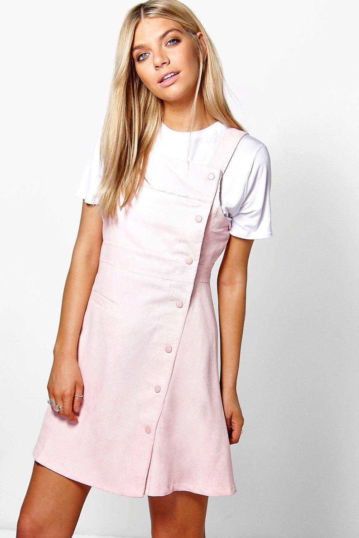 82fc78ff64cf Rebecca Ribbed Mini Pinafore Dress | Boohoo