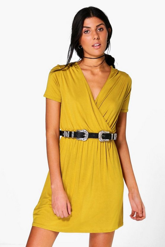 Jessie Cap Sleeve Wrap Skater Dress