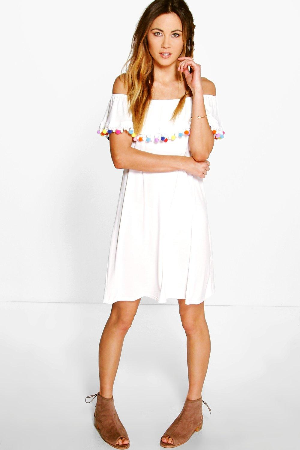 82be8919b2fa Hayley Off The Shoulder Pom Pom Shift Dress. Hover to zoom