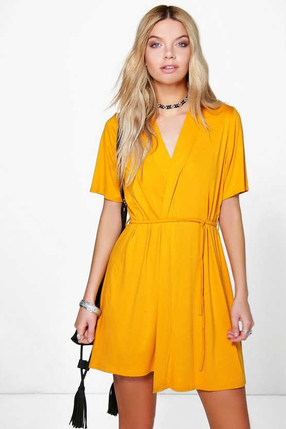 Short Sleeve Tie Waist Wrap Dress
