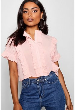 Womens Blush Ruffle Short Sleeved Shirt