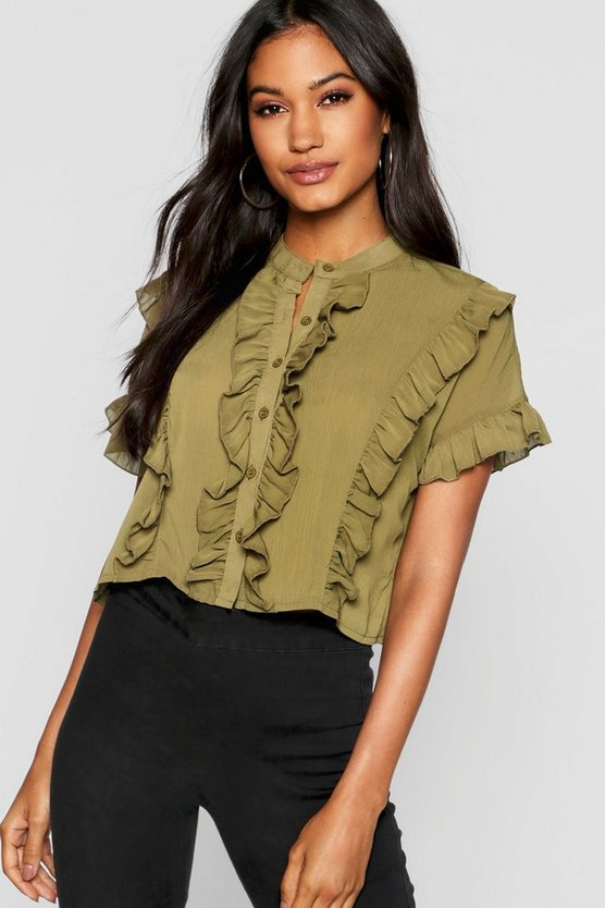 Womens Khaki Ruffle Short Sleeved Shirt