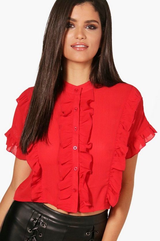 Womens Red Ruffle Short Sleeved Shirt