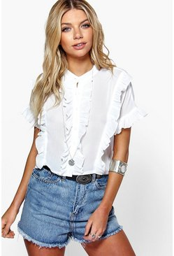 Womens White Ruffle Short Sleeved Shirt