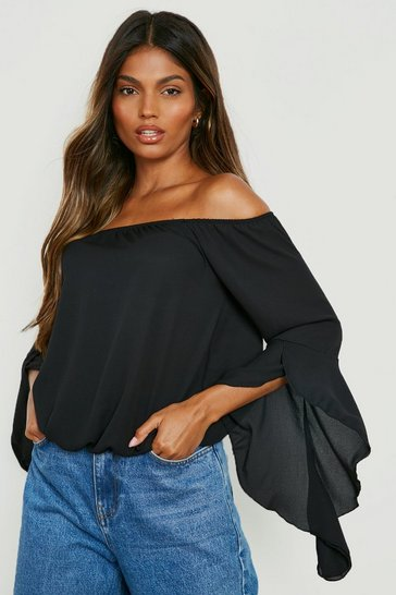 Womens Black Fluted Frill Sleeve Off The Shoulder Top