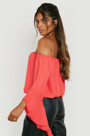 Womens Poppy Fluted Frill Sleeve Off The Shoulder Top