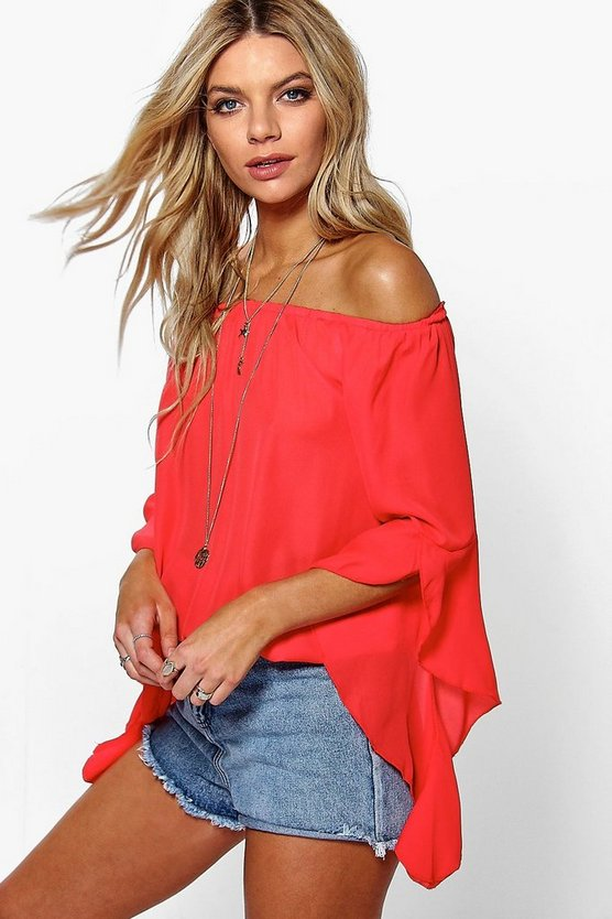 Fluted Frill Sleeve Off The Shoulder Top
