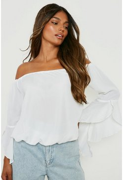 Womens White Fluted Frill Sleeve Off The Shoulder Top