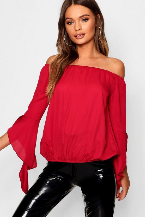 Womens Wine Fluted Frill Sleeve Off The Shoulder Top
