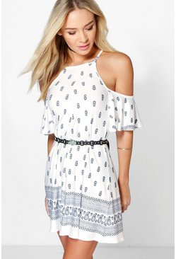 Womens Multi Cold Shoulder Border Print Swing Playsuit